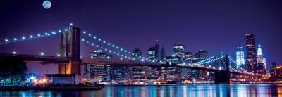 Brooklyn Bridge and Manhattan Skyline with a Full Moon Overhead-New York by Littleny