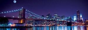 Brooklyn Bridge and Manhattan Skyline with a Full Moon Overhead by Littleny