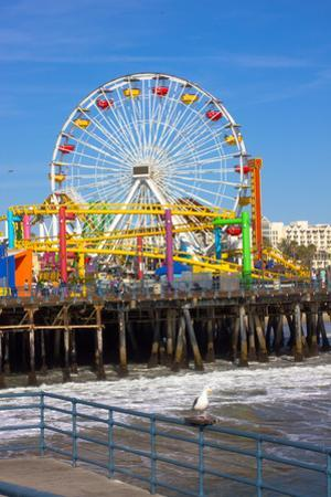 Image of a Popular Destination; the Pier at Santa Monica, Ca. with a View of the Ferris Wheel by Littleny