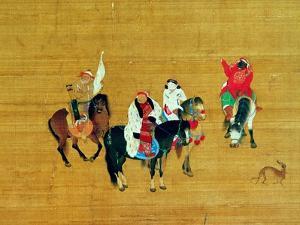 Kublai Khan (1214-94) Hunting, Yuan Dynasty by Liu Kuan-tao