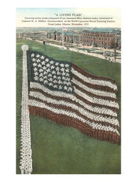Living Flag at Naval Training Station, Illinois