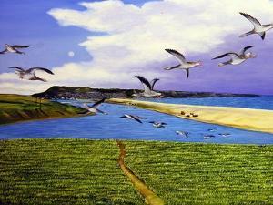 Grey Lag Geese Landing on the Fleet, 2008 by Liz Wright