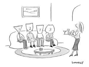 (A woman serves drinks on a tray of various cocktail glasses, to 4 guests ? - New Yorker Cartoon by Liza Donnelly