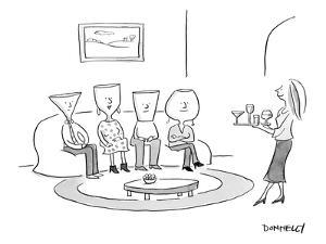 (A woman serves drinks on a tray of various cocktail glasses, to 4 guests … - New Yorker Cartoon by Liza Donnelly