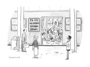 Commuters looking into a subway car that has been converted into a classro? - New Yorker Cartoon by Liza Donnelly