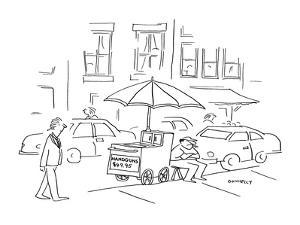 """Street vendor has a sign on his cart that reads """"Handguns $49.95."""" - New Yorker Cartoon by Liza Donnelly"""