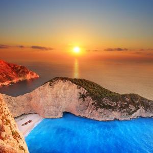 A Panorama of Sunset over Zakynthos Island, Greece by Ljsphotography