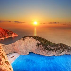 A Panorama of Sunset over Zakynthos Island, Greece by Ljsphotography