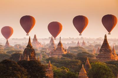 Hot Air Balloon over Plain of Bagan at Sunrise, Myanmar by lkunl