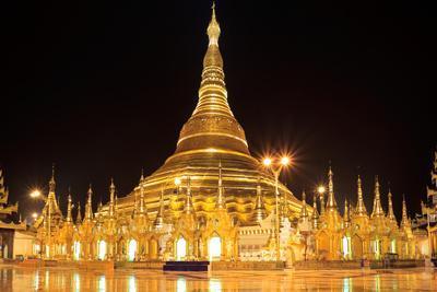 Shwedagon Pagoda at Night (Panorama), Rangon,Myanmar