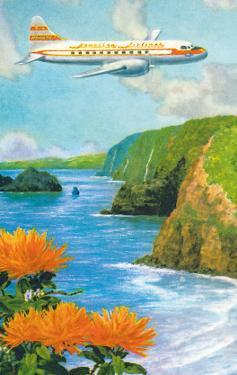 Hawaiian Airlines, Convair 340 Flying over Cliffs of Pololu Valley, Hawaii, c.1953 by Lloyd Sexton