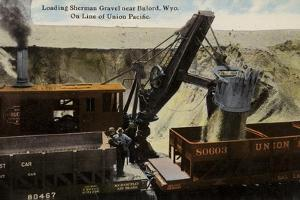 Loading Sherman Gravel onto a Train, Union Pacific Railroad, Near Buford, Wyoming, USA