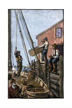 Lobster-Boat Unloaded Along a Maine Pier, circa 1880