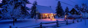 Log House with Christmas Lights, Laurentians, Canada