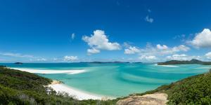 A panoramic view of the world-famous Whitehaven Beach on Whitsunday Island, Queensland, Australia by Logan Brown