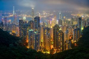 Fog envelops Hong Kong on a summer night seen from Victoria Peak, Hong Kong, China, Asia by Logan Brown