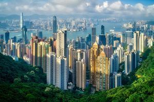 Hong Kong on a summer afternoon seen from Victoria Peak, Hong Kong, China, Asia by Logan Brown