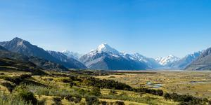 Yellow grass field with large mountains in the distance, South Island, New Zealand, Pacific by Logan Brown