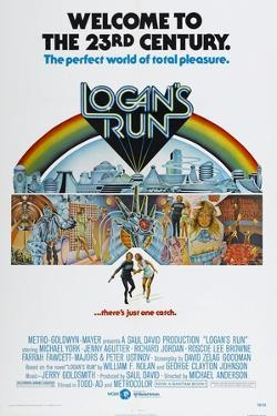 LOGAN'S RUN, US poster, bottom from left: Michael York, Jenny Agutter, 1976