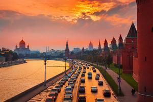 Traffic at Sunset near Kremlin Wall in Moscow, Russia. by logoboom