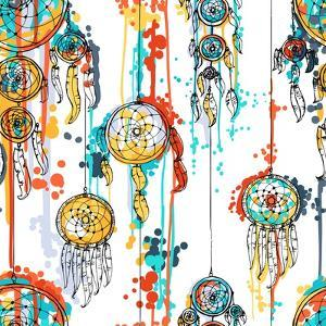 Seamless Illustration with Dream Catchers by lolya1988