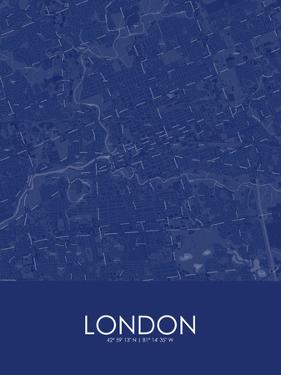 London, Canada Blue Map