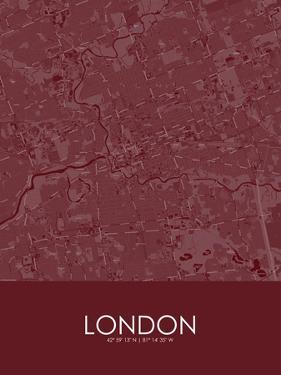 London, Canada Red Map