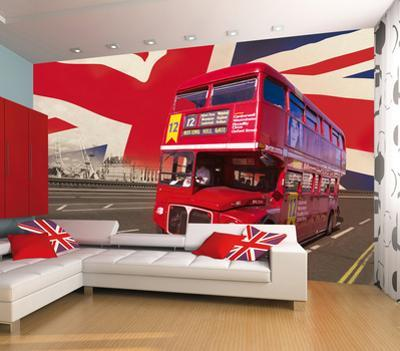 London Double Decker Bus Wallpaper Mural