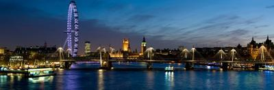 London Eye and Central London Skyline at Dusk, South Bank, Thames River, London, England