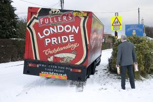 London Pride Brewery lorry stuck in snow 2009