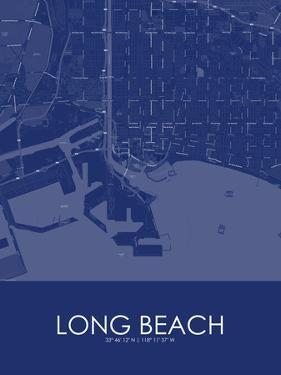 Long Beach, United States of America Blue Map