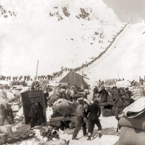 Long Ribbon of Miners Bound For the Klondike Gold Fields Climbing over the Chilcoot Pass, in 1898