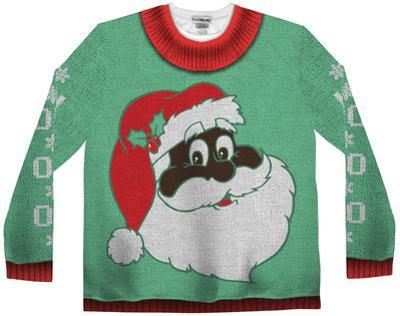 Long Sleeve: Black Santa Ugly Xmas Sweater Costume Tee
