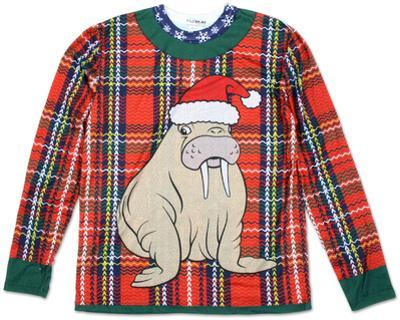 Long Sleeve: Plaid Walrus Ugly Xmas Sweater Costume Tee