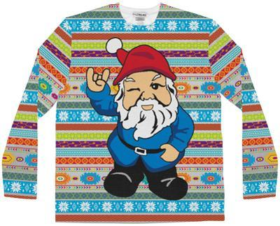 Long Sleeve: Ugly Christmas Gnome Sweater Costume Tee