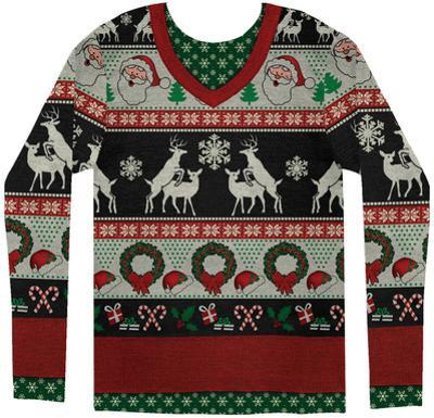 Long Sleeve: Ugly Frisky Deer Sweater Costume Tee
