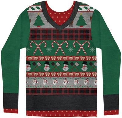 Long Sleeve: Ugly Xmas Sweater Costume Tee