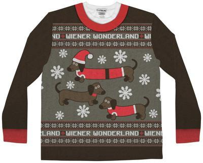 Long Sleeve: Wiener Wonderland Ugly Xmas Sweater Costume Tee
