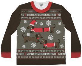 long sleeve wiener wonderland ugly xmas sweater costume tee - Ugly Christmas Sweatshirts