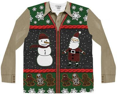 Long Sleeve: Xmas Zip Sweater Vest Ugly Sweater (Front/Back)