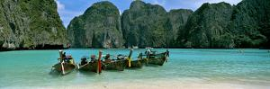 Longtail Boats in the Sea, Maya Bay, Phi Phi Le, Thailand