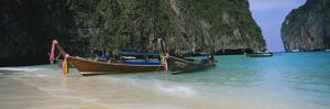 Longtail Boats Moored on the Beach, Ton Sai Beach, Ko Phi Phi Don, Phi Phi Islands, Thailand