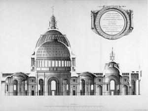 Longtitudinal Section Through St Paul's Cathedral, City of London, 1700