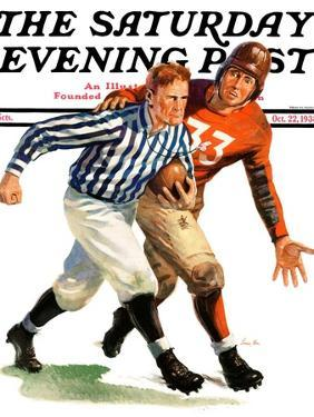"""""""But Ref!,"""" Saturday Evening Post Cover, October 22, 1938 by Lonie Bee"""