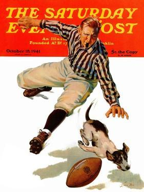 """Dog on the Field,"" Saturday Evening Post Cover, October 18, 1941 by Lonie Bee"