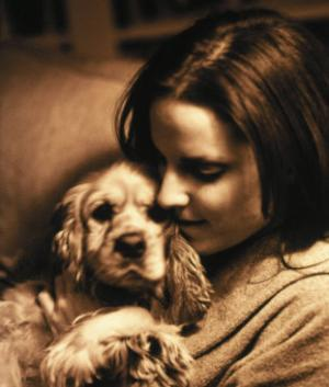 Portrait of Teen Girl with Dog by Lonnie Duka
