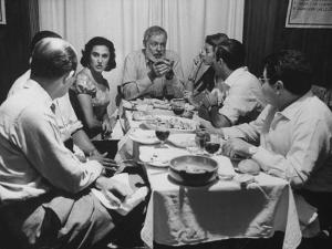 Author, Ernest Hemingway During Visit with Bullfighter Antonio Ordonez by Loomis Dean