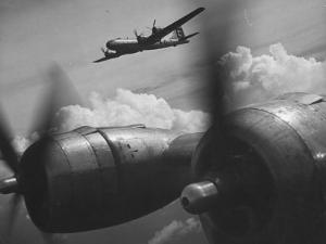 B-29's in Flight and Above Clouds on Bombing Mission over the Marianas During Ww Ii by Loomis Dean