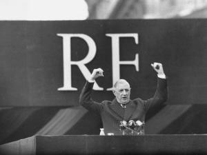 French President Charles De Gaulle Making a Speech by Loomis Dean