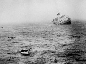 Italian Liner Andrea Doria Sinking in Atlantic after Collision with Swedish Ship Stockholm by Loomis Dean